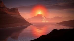 volcan en feux
